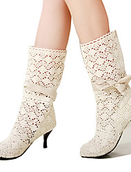 cheap -Women's Shoes Lace Fall / Winter Comfort / Novelty / Fashion Boots Boots Pointed Toe Mid-Calf Boots Bowknot White / Black / Brown