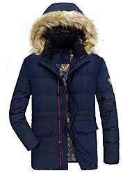 Manteau Rembourré Homme,Longue Vintage simple Décontracté / Quotidien Grandes Tailles Couleur Pleine-Coton Acrylique Polyester Polyester