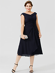 cheap -A-Line V-neck Tea-length Chiffon Mother of the Bride Dress with Buttons Pleats by LAN TING BRIDE®