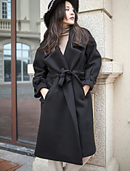 cheap -Women's Daily Going out Simple Casual Winter Coat,Solid Peaked Lapel Long Sleeve Long Wool Polyester