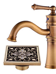 cheap -Centerset Swivel Ceramic Valve Single Handle One Hole Antique Copper , Bathroom Sink Faucet