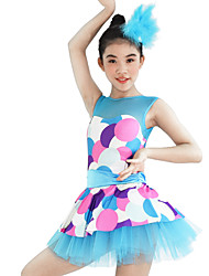 cheap -Kids' Dancewear Dresses Women's Children's Performance Elastic Elastane Lycra Pattern/Print Sleeveless Natural Dresses Headpieces