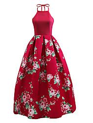 Balançoire Robe Femme Soirée Sortie Rétro Mignon Chic de Rue,Fleur Col Ras du Cou Midi Sans Manches Polyester Autres Toutes les Saisons