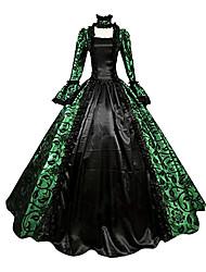 Une Pièce/Robes Gothique Steampunk® Cosplay Vêtrements Lolita Vert Rétro Poète Manches Longues Long Robe Pour Dentelle Satin