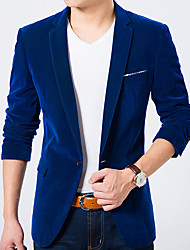 cheap -Men's Daily Work Simple Casual Spring Fall Blazer,Solid Notch Lapel Long Sleeve Regular Cotton
