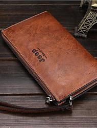 cheap -Men's Bags PU Wallet Zipper for Casual Black / Coffee / Dark Brown