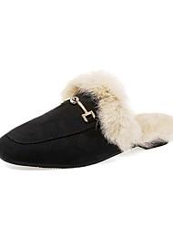 Недорогие -Для женщин Обувь Замша Зима Удобная обувь Башмаки и босоножки Круглый носок Назначение Повседневные Черный Желтый Хаки
