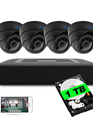 4CH 5-in-1 DVR Kits Built-in 1TB HDD 1080N 4pcs Dome CCTV Cameras Security System Indoor IR Day Night