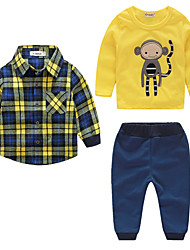 cheap -Boys' Stripe Clothing Set, Cotton Fall Long Sleeves Check Yellow