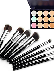 cheap -8PCS Silver Black Handle Cosmetic Makeup Brush Set&15 Colors Camouflage Natural Concealer/Foundation/Bronzer
