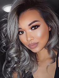 Недорогие -Бразильские волосы Естественные кудри Омбре Ткет человеческих волос Черный / серый