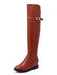 Women's Shoes PU Fall Winter Riding Boots Fashion Boots Boots Low Heel Round Toe Thigh-high Boots Over The Knee Boots Buckle For Casual