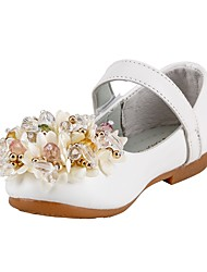 Girls' Shoes Leatherette Spring Fall Comfort Flower Girl Shoes Heels Crystal Sequin Magic Tape For Wedding Dress Blushing Pink White