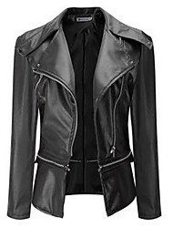 cheap -Women's Daily Simple Casual Fall Leather Jacket,Solid V Neck Long Sleeve Regular Polyester