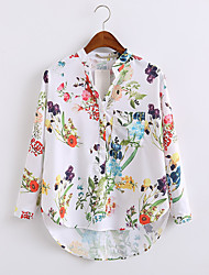 cheap -Women's Daily Going out Spring Fall Shirt,Floral Stand Long Sleeves Cotton Thin Medium