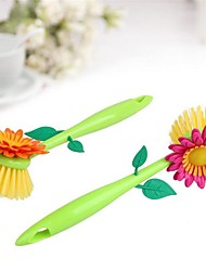cheap -1Pcs  Creative & Funny  Flowers Sunflower Brush With Stand Kitchen Cleaning Brush Pot Kitchen Cooking Tools Kitchen Artifact
