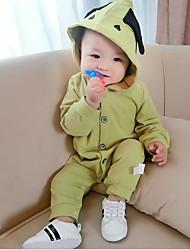 baratos -bebê Peça Única Côr Sólida Primavera Outono 100% Algodão Verde Cinzento
