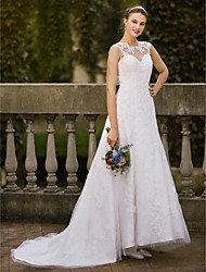 cheap -A-Line Jewel Neck Asymmetrical Satin / Tulle / All Over Lace Made-To-Measure Wedding Dresses with Appliques / Lace by LAN TING BRIDE®