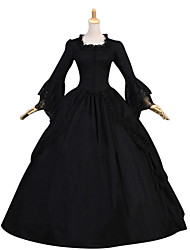 Vintage Victorian Gothic Medieval Costume Female Party Costume Masquerade Black Vintage Cosplay Other Long Sleeves Cap