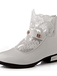 Girls' Shoes Leatherette Spring Fall Comfort Fashion Boots Boots For Casual White Black Pink