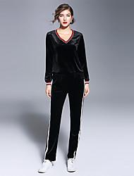 Sweat à capuche Pantalon Costumes Femme,Rayé Sports Sortie simple Automne Manches longues Col en V Micro-élastique