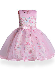 cheap -Girl's Birthday Daily Holiday Solid Floral Jacquard Dress, Cotton Polyester Fall All Seasons Sleeveless Floral Bow Lace Blushing Pink