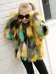 Girls' Patchwork Jacket & Coat,Wool Rabbit Fur Raccoon Fur Winter Fall Long Sleeve Rainbow