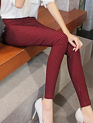 cheap -Women's Thin Solid Color Legging,Striped Blue White Black Wine