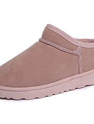 Недорогие -Для женщин Обувь Полиуретан Осень Зима Зимние сапоги Ботинки На низком каблуке Круглый носок Ботинки Назначение Повседневные Черный Серый
