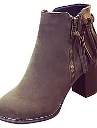 preiswerte -Damen Schuhe PU Winter Herbst Komfort Pumps Stiefel Block Ferse Spitze Zehe Booties / Stiefeletten Reißverschluss Quaste für Normal