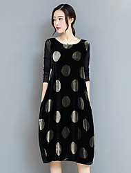 cheap -Women's Daily Going out Casual A Line Dress,Polka Dot Round Neck Knee-length Long Sleeves Polyester Spring Fall High Rise Micro-elastic