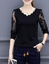 preiswerte -Damen Solide - Retro T-shirt, V-Ausschnitt Polyester