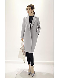 cheap -Women's Going out Simple Casual Winter Fall Coat,Solid Stand Long Sleeve Long Cashmere
