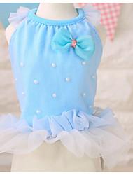 baratos -Cachorro Vestidos Roupas para Cães Princesa Fúcsia / Azul / Rosa claro Chifon Ocasiões Especiais Para animais de estimação Verão Homens / Mulheres Casual