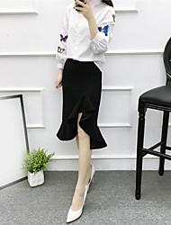 Mujer Sexy Fiesta/Cóctel Maxi Faldas,Corte Sirena Plisado Primavera Un Color