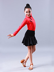 cheap -Latin Dance Outfits Children's Performance Rayon 2 Pieces Long Sleeve Skirts Leotard