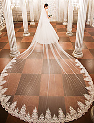 cheap -One-tier Wedding Veil Cathedral Veils 53 Appliques Lace Tulle