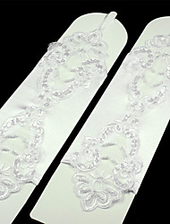 baratos -Renda spandex Até o Cotovelo Luva Luxo Luvas de Noiva With Pérolas Lantejoulas Bordado