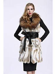 Feminino Colete Casual Sofisticado Outono Inverno,Estampa Colorida Longo Pêlo de Coelho Decote V