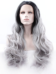 cheap -Women Synthetic Wig Lace Front Medium Length Long Curly Wavy Natural Wave Loose Wave Deep Wave Water Wave Grey Ombre Hair Dark Roots