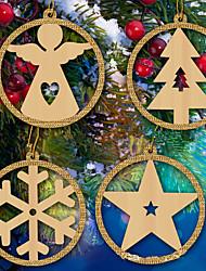 baratos -4pcs / set flocos de neve estrela anjo árvore de natal pingentes de madeira ornamentos