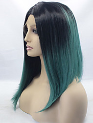 cheap -Women Synthetic Wig Lace Front Medium Length Straight Black/Smoke Blue Ombre Hair Dark Roots Middle Part Cosplay Wig Costume Wig