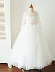 cheap -Ball Gown Floor Length Flower Girl Dress - Lace Tulle Long Sleeves Jewel Neck with Bow(s) Sash / Ribbon by LAN TING BRIDE®
