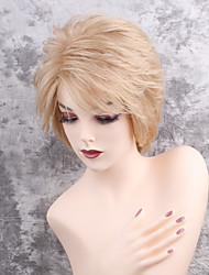 Women Synthetic Wig Capless Short Straight Strawberry Blonde/Bleach Blonde Side Part With Bangs Natural Wigs Costume Wig