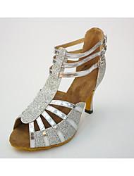 """Women's Latin Leatherette Honeycomb Heel Indoor Splicing High Heel Black Silver 2"""" - 2 3/4"""""""