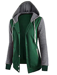 Women's Daily Going out High Heel Casual Hoodie Jacket Color Block Hooded Without Lining Micro-elastic Polyester Winter Fall
