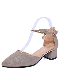 Women's Shoes PU Summer Sandals Walking Shoes Block Heel Pointed Toe Buckle For Gold Black Silver Sky Blue