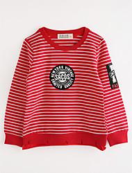 preiswerte -Jungen Bluse Streifen Baumwolle Herbst Langarm Rote