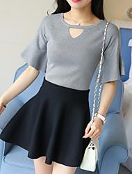 preiswerte -Damen Kunst-Pelz Pullover-Solide V-Ausschnitt