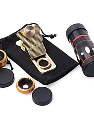 10x multifunzione 4 in1 telecamera esterna telecamera grandangolare fisheye telefoto per telefono cellulare (oro)